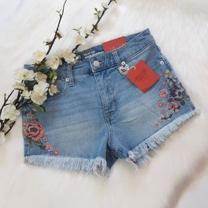 Mossimo High Waisted Floral Ebroidered Jean Shorts
